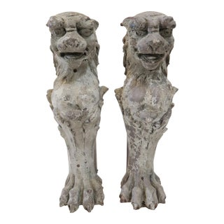 Lion Fireplace Bracket Molds - A Pair For Sale