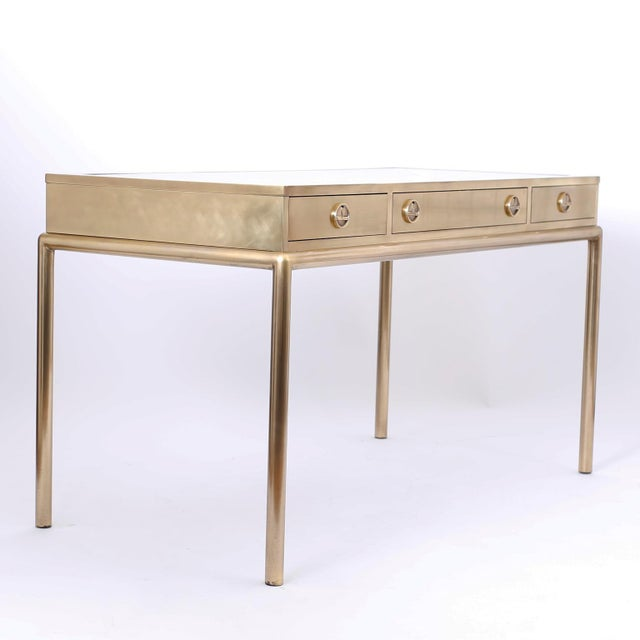 Campaign Brass and Leather Mastercraft Desk For Sale - Image 3 of 10