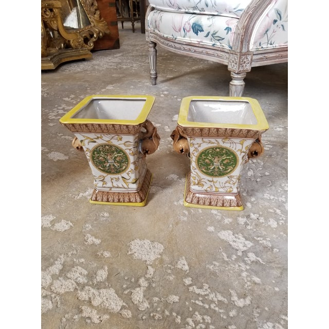 Yellow Yellow and Brown Cache Pots - a Pair For Sale - Image 8 of 8
