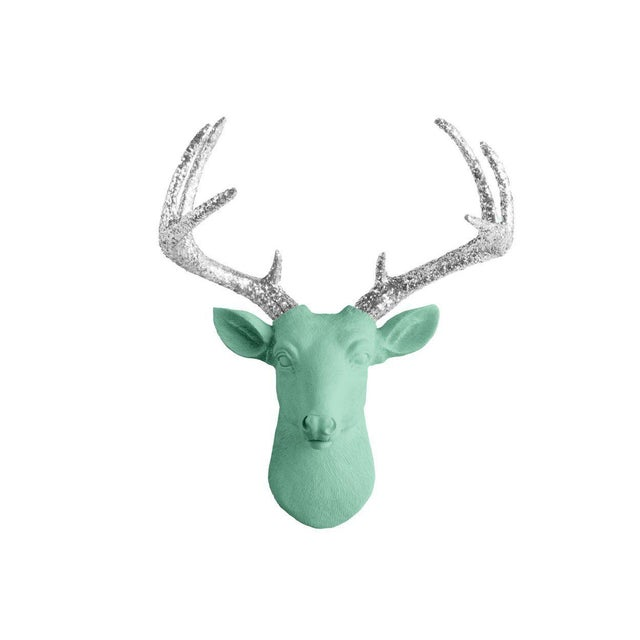 Wall Charmers Mint & Silver Faux Taxidermy Mini Deer Head Mount For Sale - Image 4 of 4