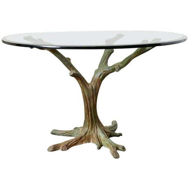 French Bronze Faux Bois Tree Sculpture Dining Table For Sale - Image 13 of 13