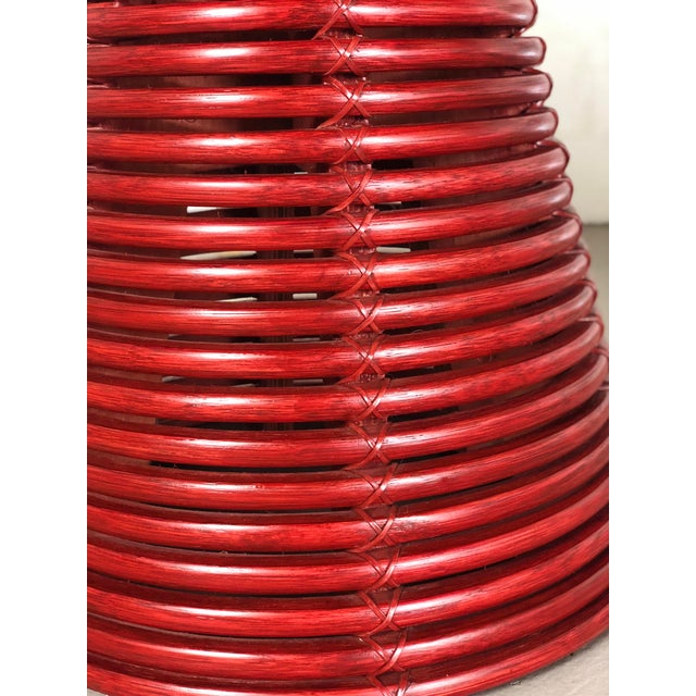 McGuire Contemporary McGuire Red Round Table For Sale - Image 4 of 8