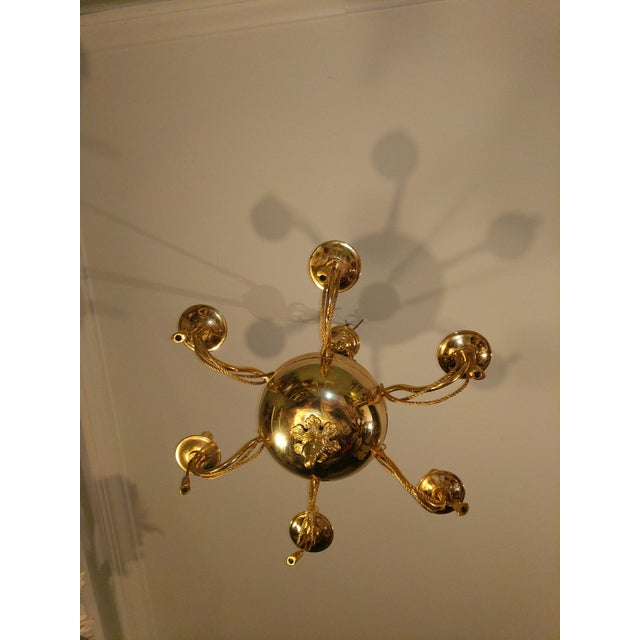 Vintage Solid Brass Rope and Tassels Chandelier For Sale - Image 9 of 10