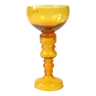 1970s Friedrich Kristall Honey Glass Candle Holder For Sale