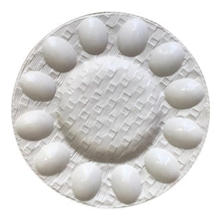 Vintage Basketweave Deviled Egg Serving Dish-Neuwirth For Sale