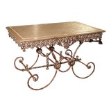 Image of French Iron and Marble Pastry Table For Sale