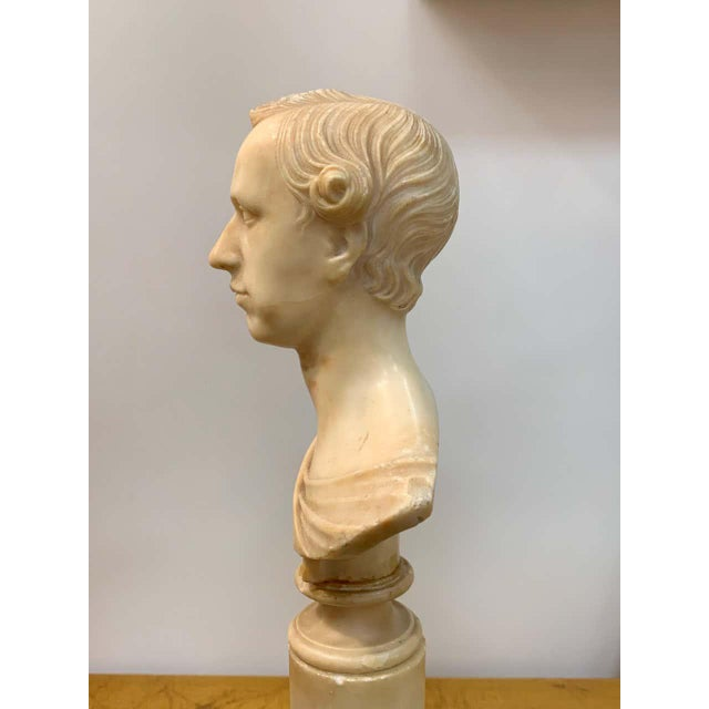 Italian neoclassical Alabaster portrait bust of a gentleman, by Insom Fece, 1839 Finely detailed portrait bust of young...