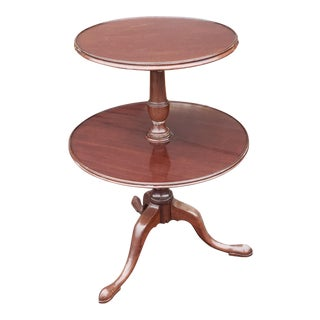 Antique 19th Century Mahogany Queen Anne 2-Tiered Dumb Waiter Pedestal Table For Sale