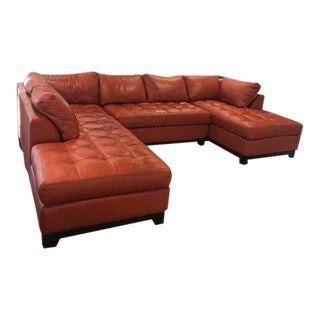 Modern Large Cognac U-Shaped Sectional For Sale