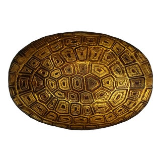 Oval Faux Tortoise Glass Bowl For Sale