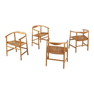 Hans Wegner Set of Four Beech and Papercord PP201 Armchairs, Denmark, 1960s For Sale