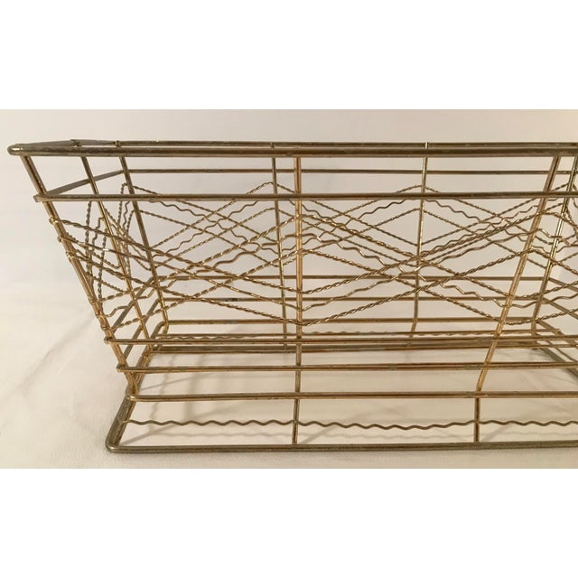 Metal Mid Century Expanded Gold Metal Basket For Sale - Image 7 of 8