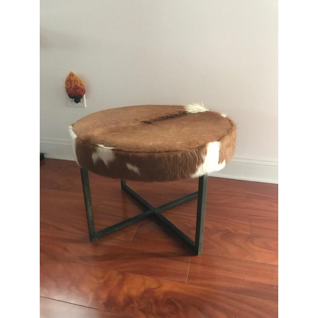 Mid-Century Modern Circular Upholstered Cowhide Bench For Sale - Image 3 of 7
