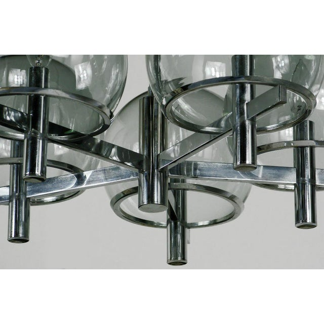 Early 20th Century Gaetano Sciolari Chrome & Smoked Glass Five-Arm Chandelier For Sale - Image 5 of 8
