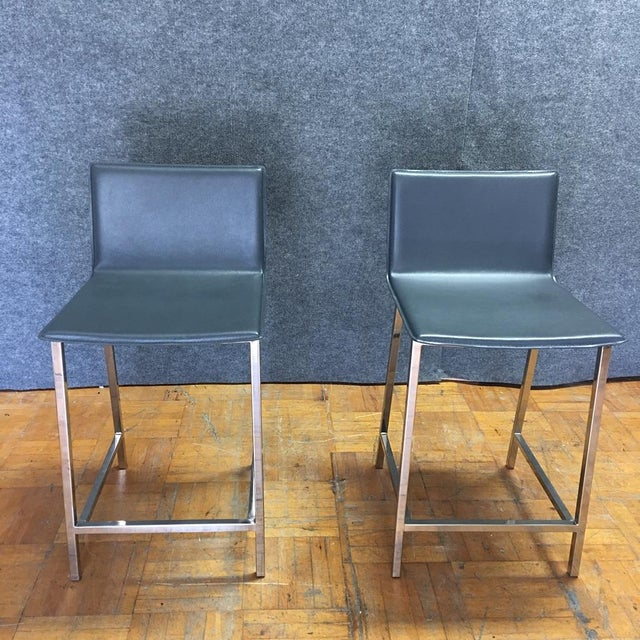Contemporary Cb2 Phoenix Navy Blue Counter Stools - Pair For Sale - Image 3 of 9