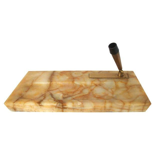 Art Deco Onyx Stone Desk Set Pen Tray and Ink Blotter 3 Pcs. For Sale - Image 3 of 5