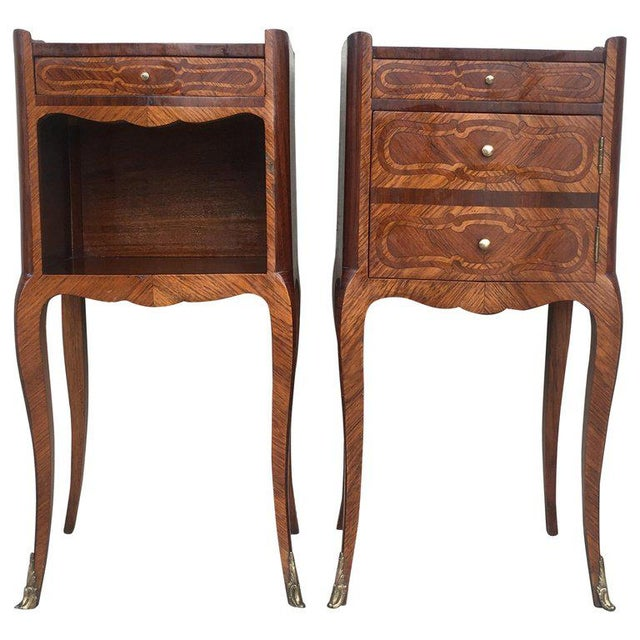 Pair of French Marquetry Walnut Bedside Tables With Drawers and Open Shelf For Sale - Image 13 of 13