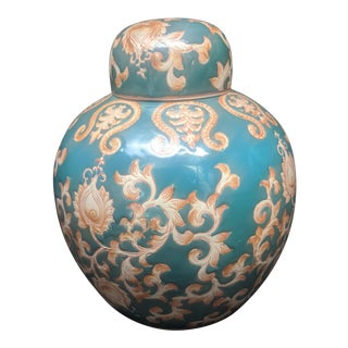 Vintage Ginger Jar With Lid China Teal Green Orange Ivory Design For Sale