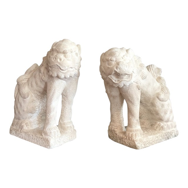 Large Heavy Plaster Male & Female Foo Dog Statues For Sale