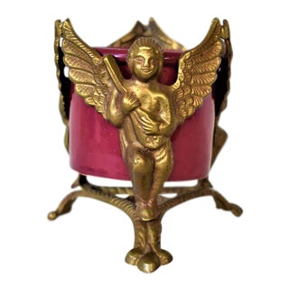 1980s Vintage Brass and Raspberry Ceramic Angel Candleholder For Sale