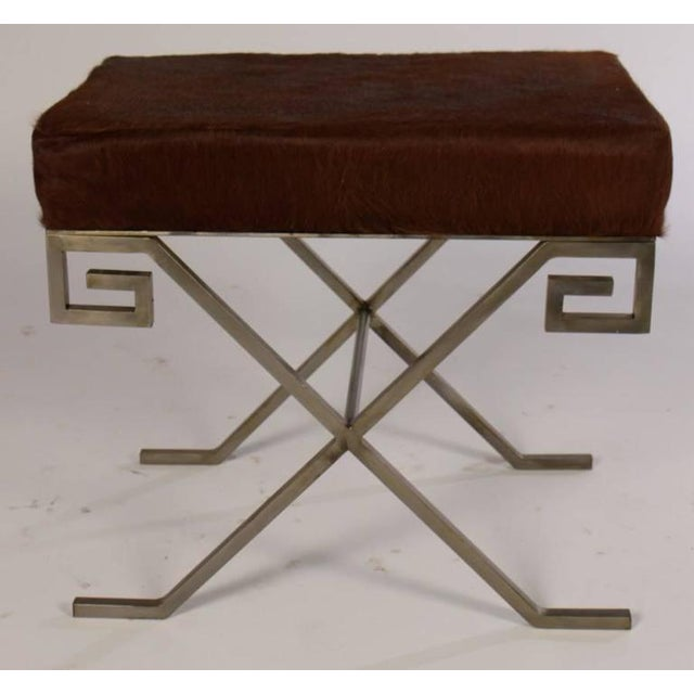 Mid-Century Modern Mid-Century Benches Upholstered with Cowhide - A Pair For Sale - Image 3 of 6
