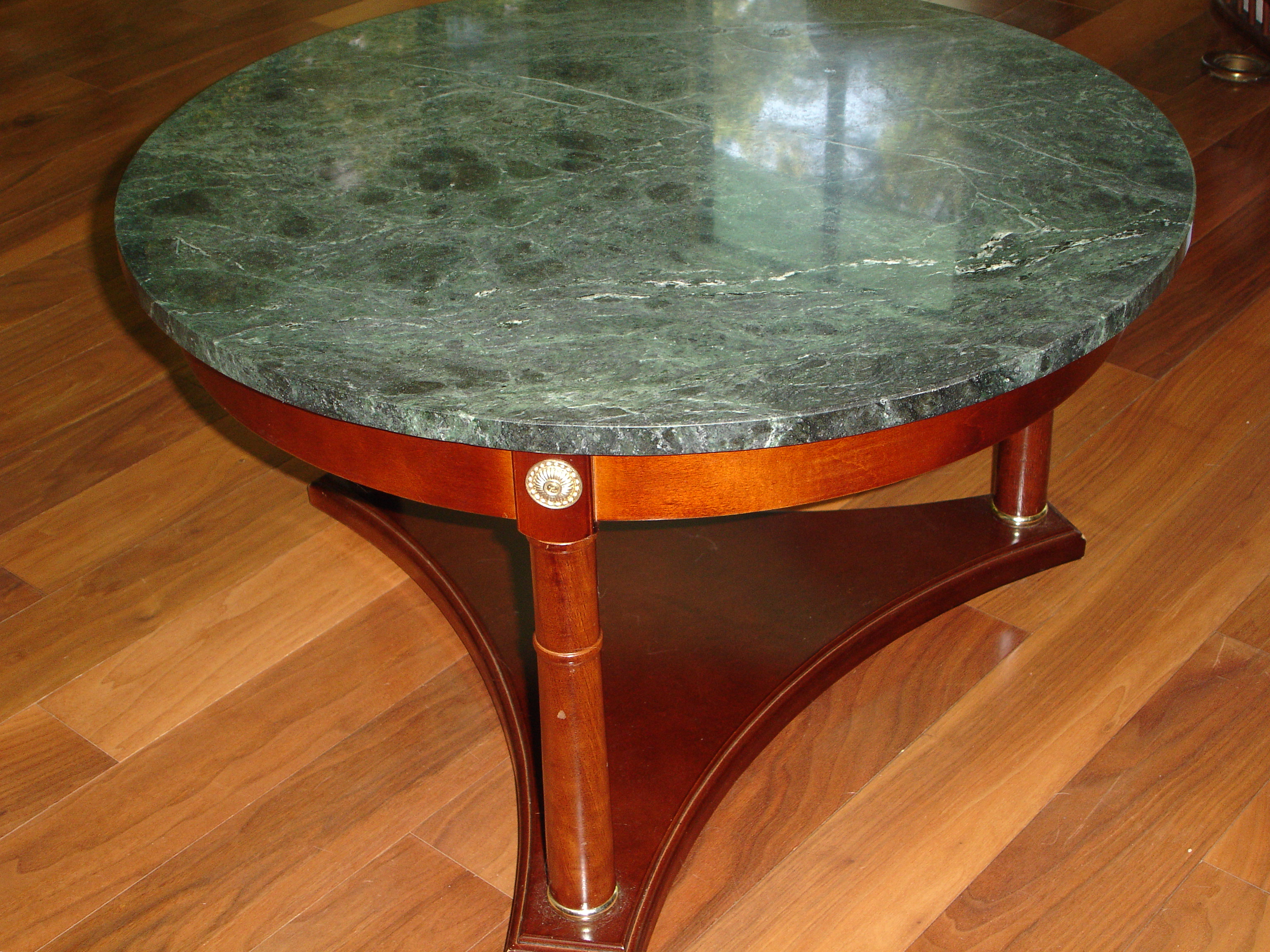 Ideal Vintage Green Marble Top & Mahogany Coffee Table | Chairish ND94