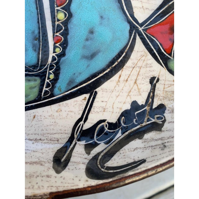 Marcello Fantoni Leather Wrapped Ceramic Hand-Painted Tray in the Style of Marcello Fantoni For Sale - Image 4 of 8