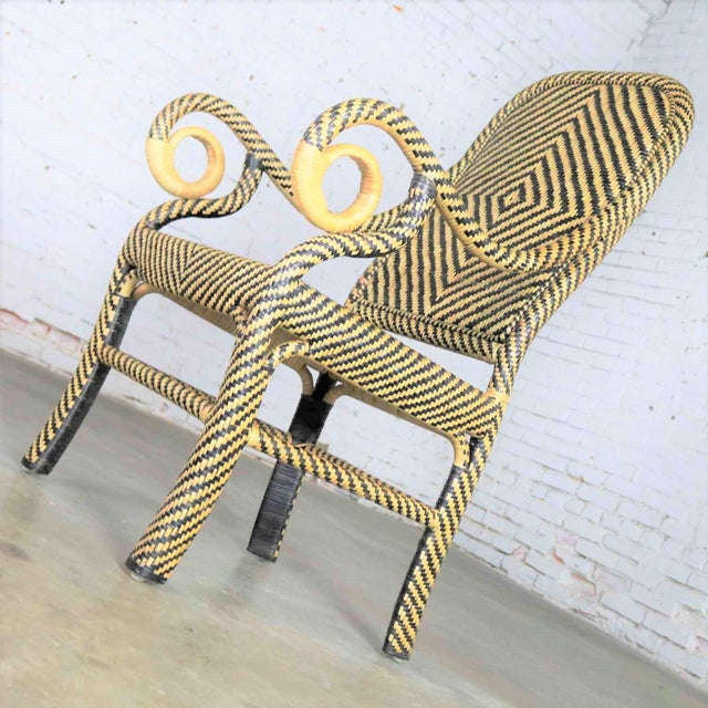 Two-Tone Chevron Pattern Rattan Wicker Tall Back Chair With Spiral Arms For Sale - Image 6 of 13