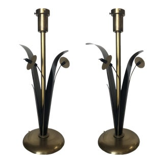 Pair of Mid Century Brass and Black Metal Willow Table Lamps For Sale