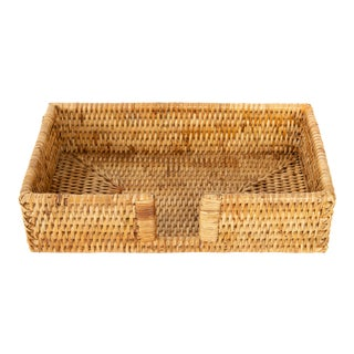Artifacts Rattan Guest Towel/Napkin Holder With Cutout - Honey Brown For Sale