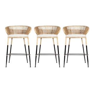 David Francis Rattan Barstools - Set of 3 For Sale