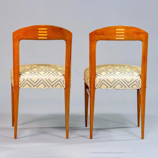 Set of Eight Art Deco Beech Chairs With New Upholstery For Sale - Image 4 of 12