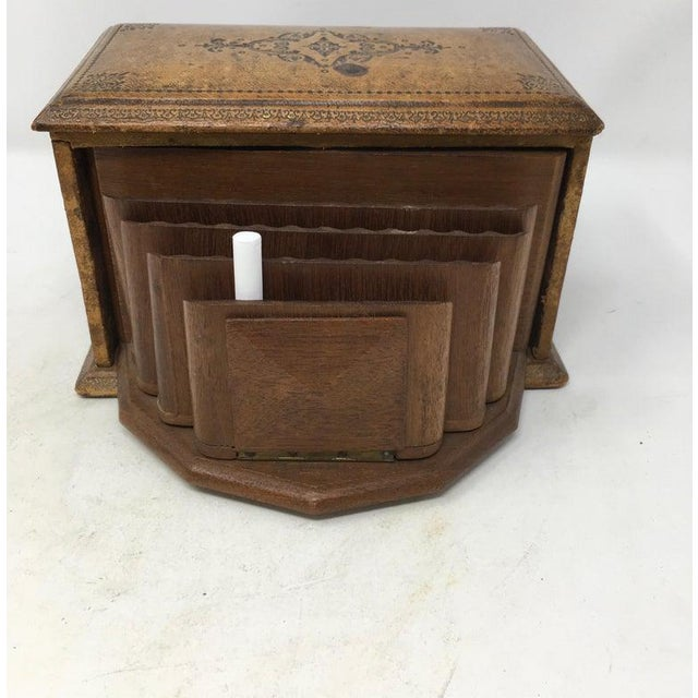 French Vintage French Book Style Cigarette Box Desk Organizer For Sale - Image 3 of 12