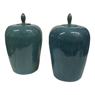 Asian Contemporary Lidded Urns - a Pair For Sale