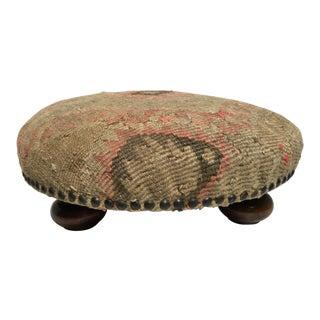 Vintage Turkish Kilem Footstool For Sale