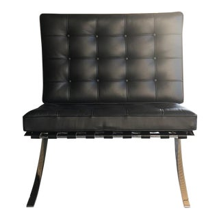 Knoll Black Leather Barcelona Chair by Ludwig Mies Van Der Rohe For Sale
