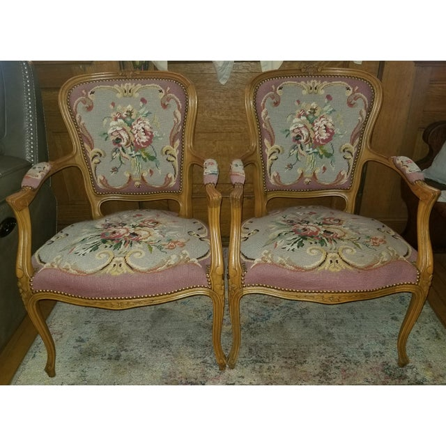 1960s Vintage Needlepoint French Chairs - a Pair For Sale - Image 11 of 11