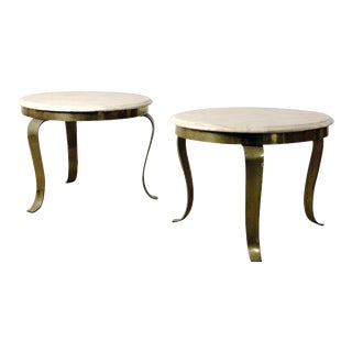 1960s Mid-Century Modern Guy Muller Signed Onyx Surface and Brass End Tables For Sale