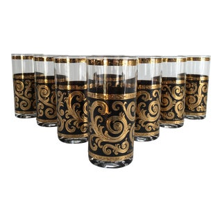 Mid-Century 22k Gold & Black Cocktail Glassware - Set of 8
