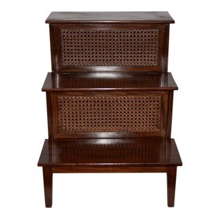 18th to 19th Century French Mahogany & Cane Steps For Sale