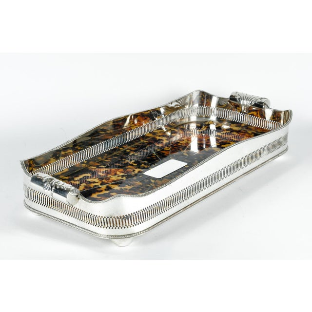 1940s English Oblong Faux Tortoise Shell Silver Plated Footed Tray For Sale - Image 5 of 7