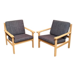 Hans Wegner Oak Lounge Chairs - a Pair