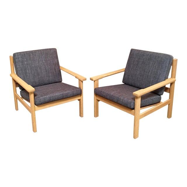 Hans Wegner Oak Lounge Chairs - a Pair For Sale