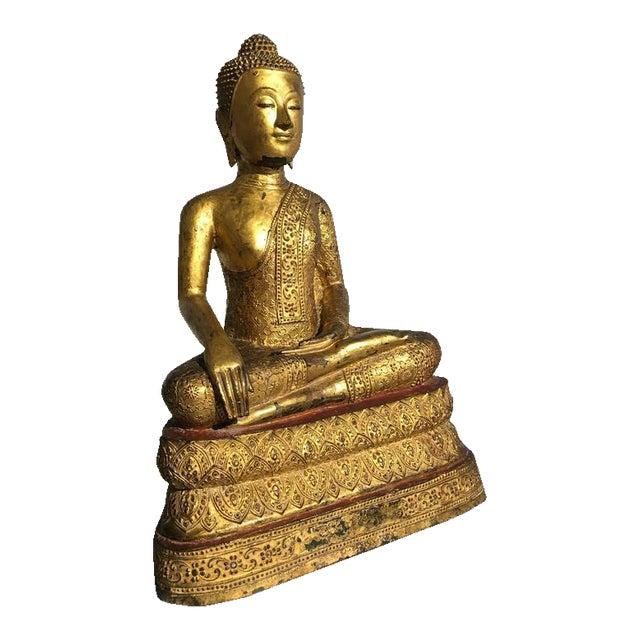 Thai Rattanakosin Lacquered Gilt Bronze Image of Buddha Maravijaya For Sale