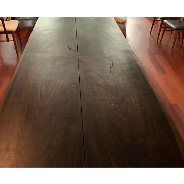 2010s Industrial Viento Ray Dark Steel and Reclaimed Wood Dining Table For Sale - Image 5 of 13