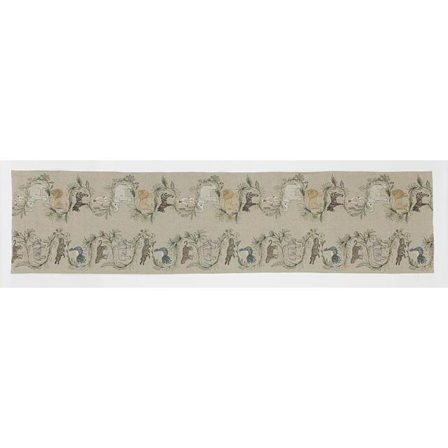 French 2010s French Ecru Linen Safari Table Runner For Sale - Image 3 of 8