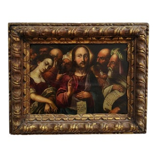 """Mid 16th Century Flemish School """"Go and Sin No More"""" Oil Painting, Framed For Sale"""