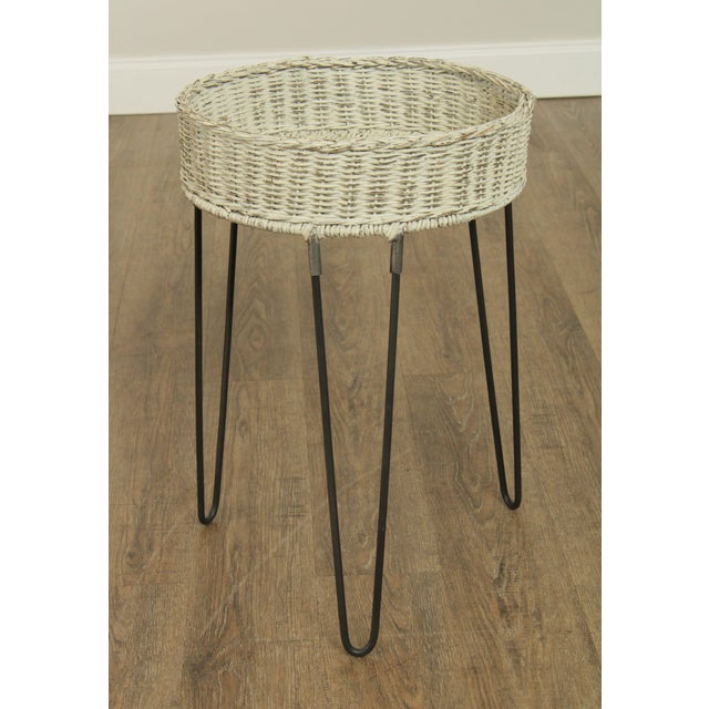 High quality white painted wicker planter with iron hairpin legs. Store Item#: 26821
