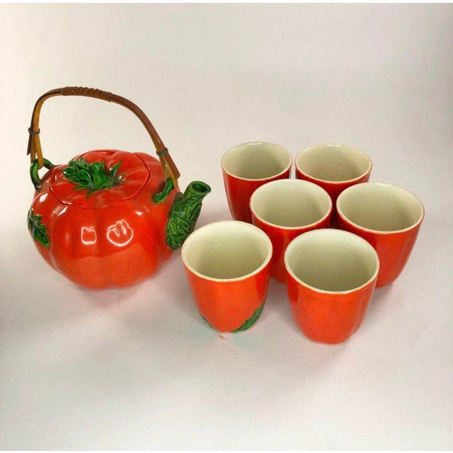 Red 1960s Mid-Century Japanese Tomato Teapot & Cups - Set of 7 For Sale - Image 8 of 8