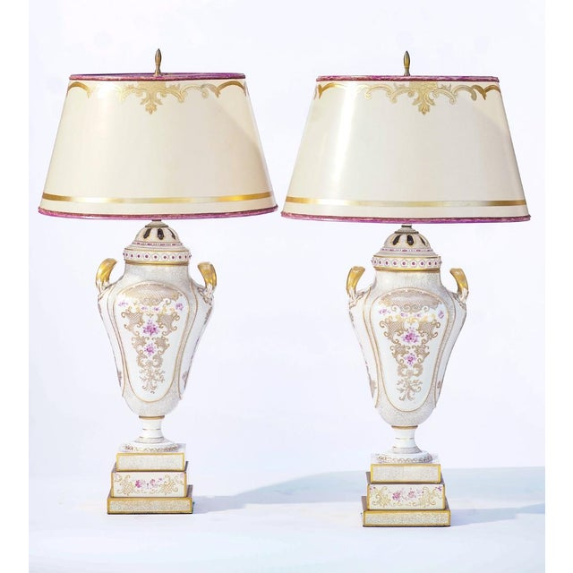 Mid 20th Century 20th C. French Painted Porcelain Urn Lamps For Sale - Image 5 of 5